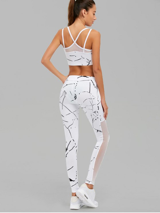 Paint Splatter Mesh Paneled Gym Suit - WHITE S Mobile