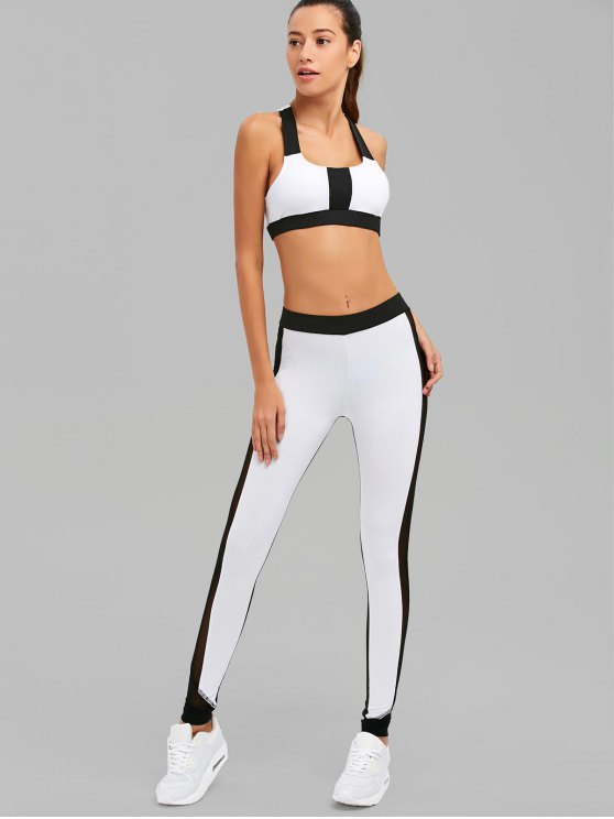 Color Block Mesh Insert Sports Suit - WHITE AND BLACK S Mobile