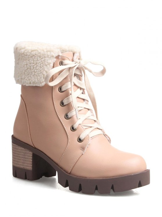 fashion Lace Up Platform Round Toe Ankle Boots - APRICOT 37