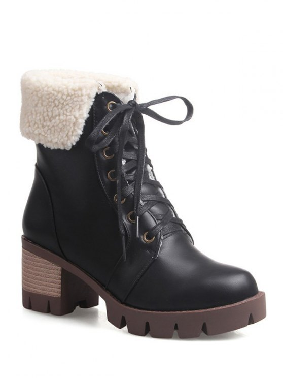 sale Lace Up Platform Round Toe Ankle Boots - BLACK 38