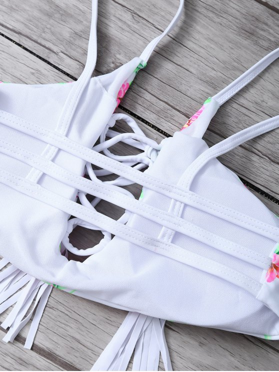 Lace-Up Floral Bikini Set - WHITE L Mobile