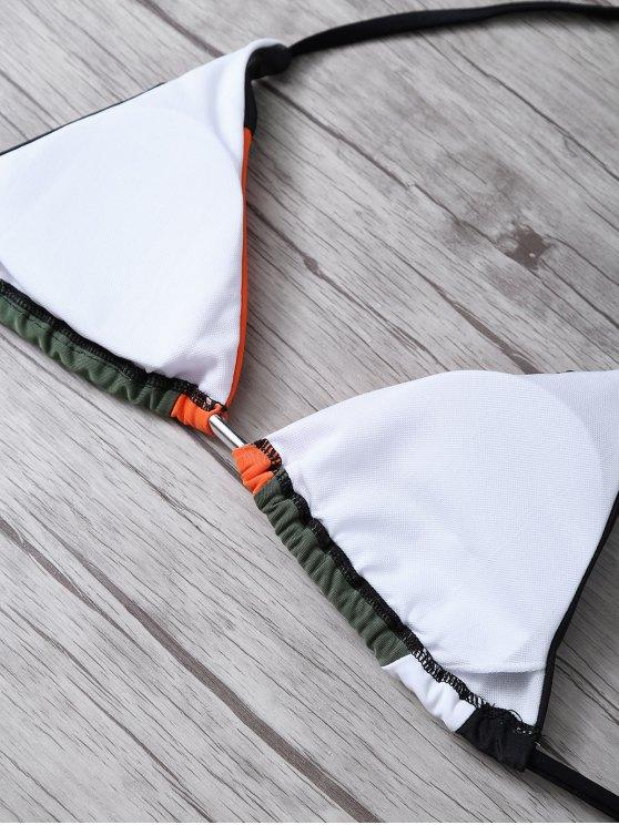 Color Block Geometric Bikini Set - BLACK M Mobile