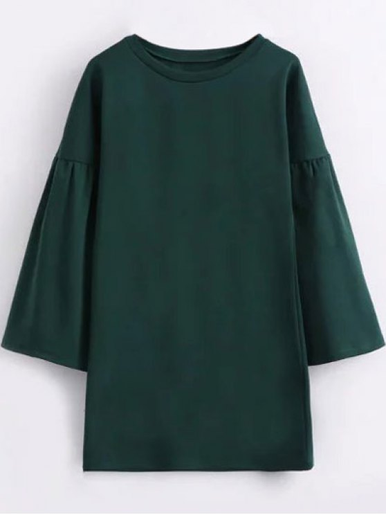 Round Collar Shift Dress - GREEN M Mobile