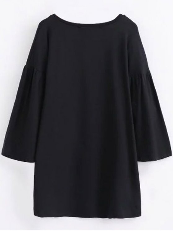 Round Collar Shift Dress - BLACK L Mobile