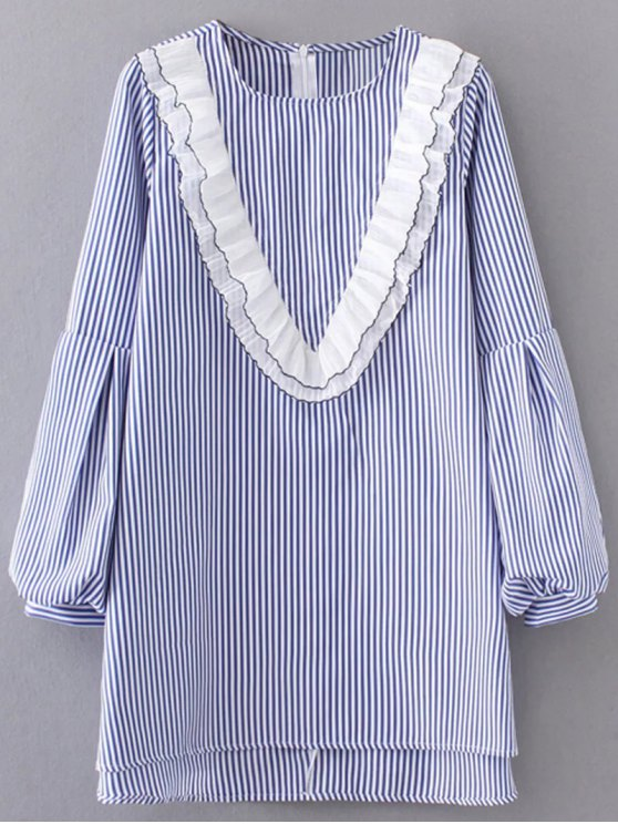 Ruffles Lantern Sleeve Striped Dress - LIGHT BLUE S Mobile