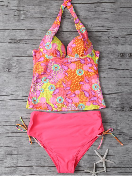 affordable Printed Halter Underwire Tankini Swimsuit - WATERMELON RED M