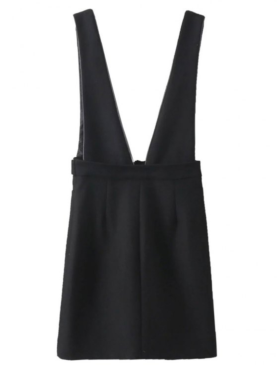 Zippered Suspender Skirt - BLACK S Mobile