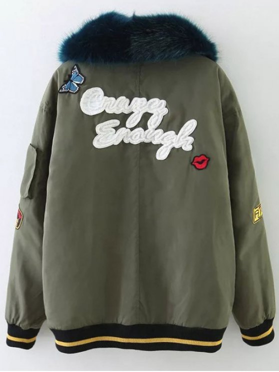 Furry Collar Patch Padded Bomber Jacket - ARMY GREEN S Mobile