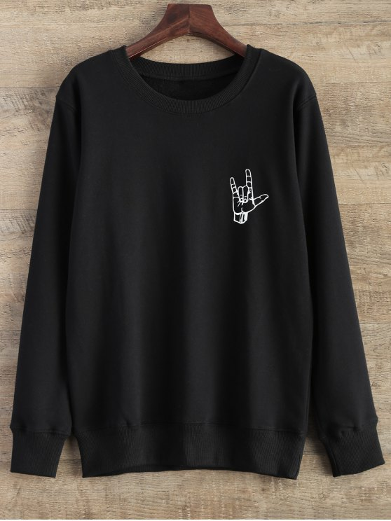 hot Gesture Graphic Pullover Sweatshirt - BLACK L
