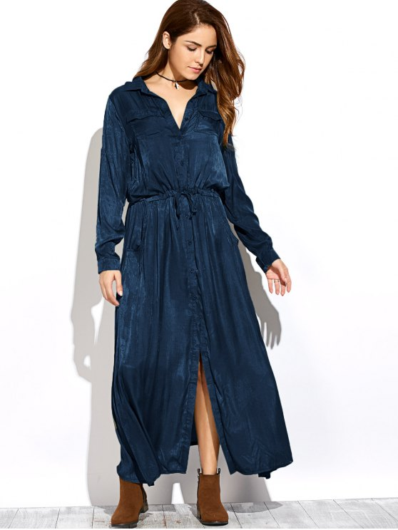 Long Sleeves Maxi Shirt Dress - PURPLISH BLUE XL Mobile