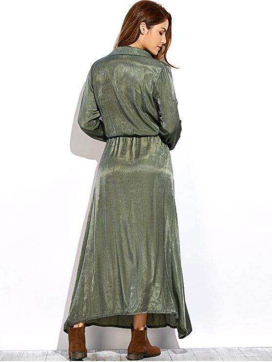 Long Sleeves Maxi Shirt Dress - GREEN L Mobile