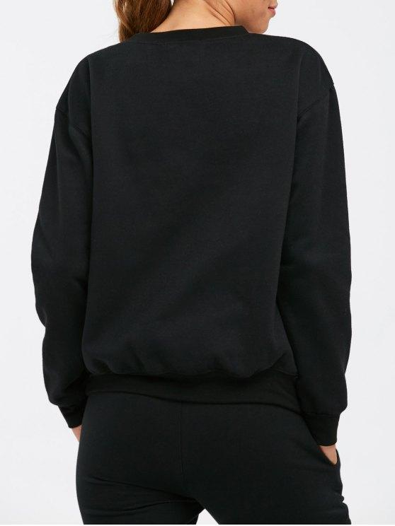 Letter Pattern Crew Neck Sweatshirt - BLACK 2XL Mobile