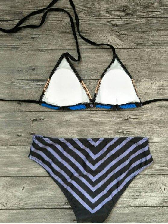 Geometric Print Color Block Bikini Set - BLACK M Mobile