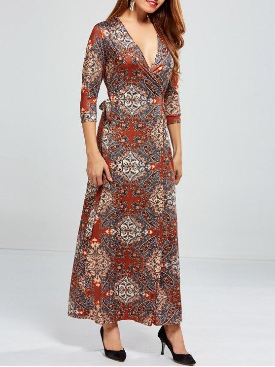 Low Cut Print Maxi Wrap Dress - COLORMIX S Mobile