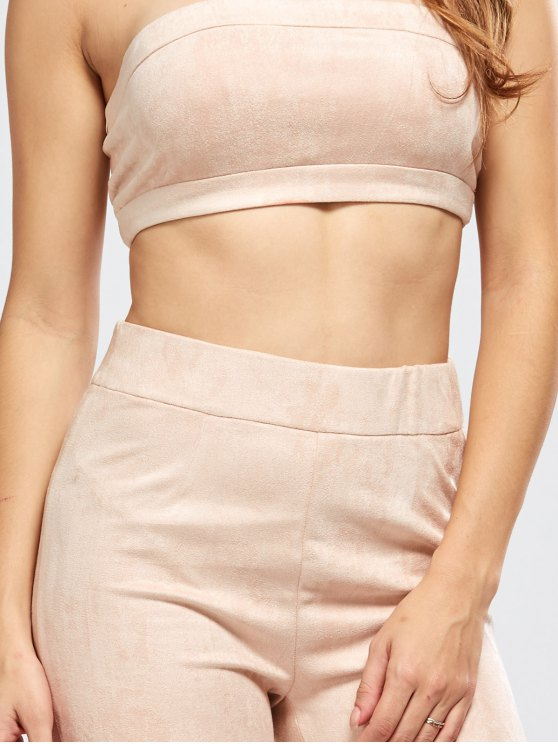 Faux Suede Bandeau Top and High Rise Pants - NUDE PINK S Mobile