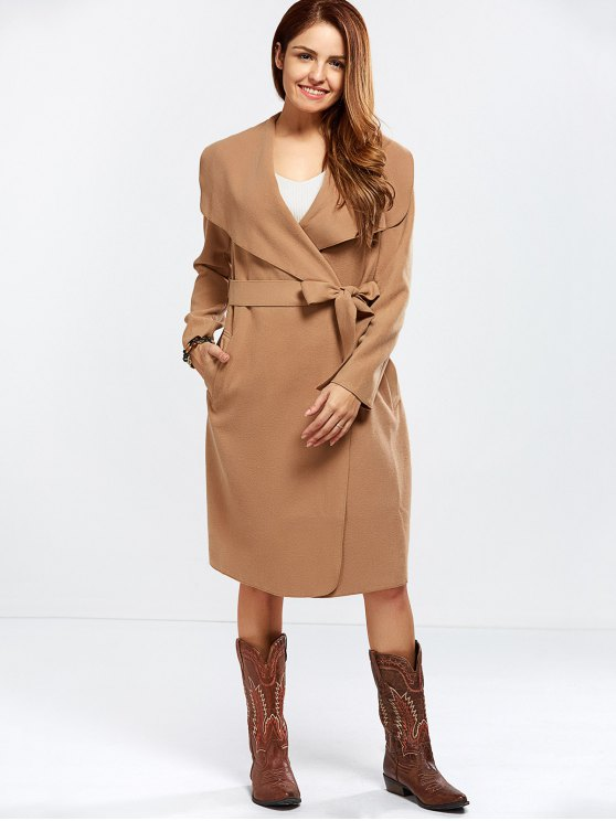 Shawl Collar Belted Wrap Coat - CAMEL L Mobile