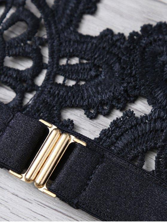 Crochet Flower Unlined Bra - BLACK M Mobile