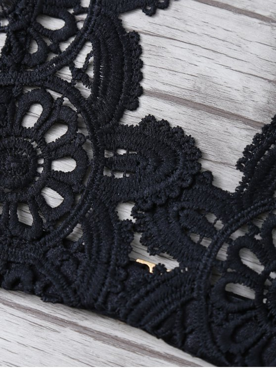 Crochet Flower Unlined Bra - BLACK M Mobile