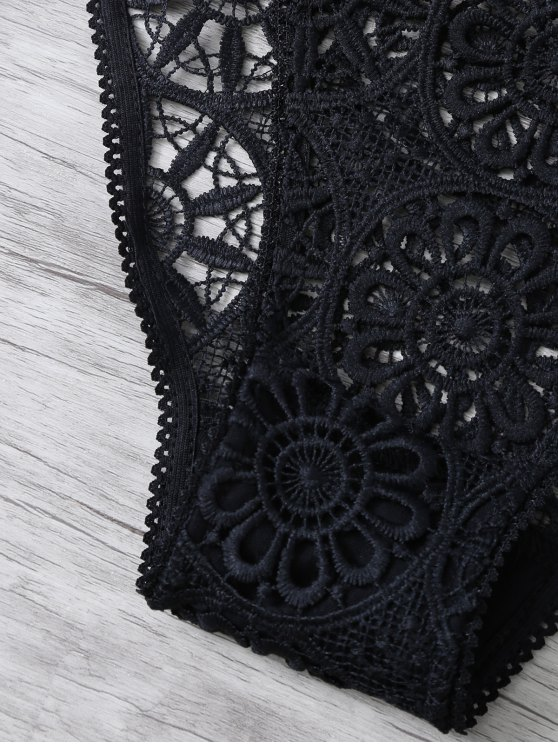 Crochet Flower Unlined Bra and Panty - BLACK M Mobile