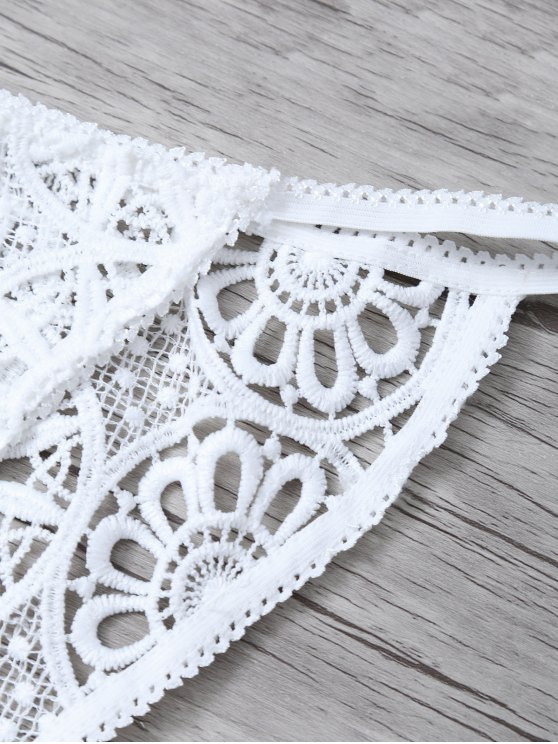 Crochet Flower Unlined Bra and Panty - WHITE M Mobile