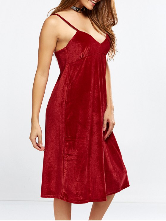Velvet Cami Slip Dress - RED L Mobile