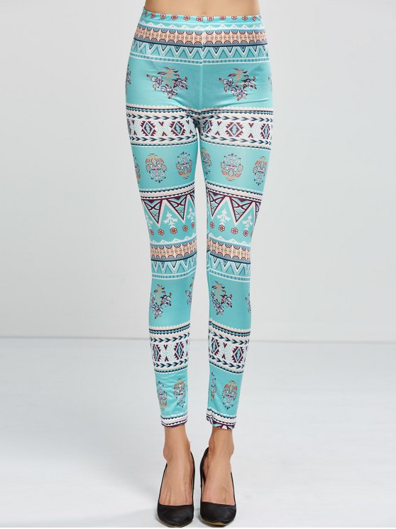 trendy Patterned Skinny Leggings - LIGHT GREEN ONE SIZE