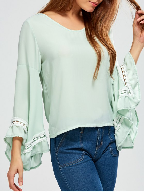 Flare Sleeve Chiffon Blouse - LIGHT GREEN M Mobile