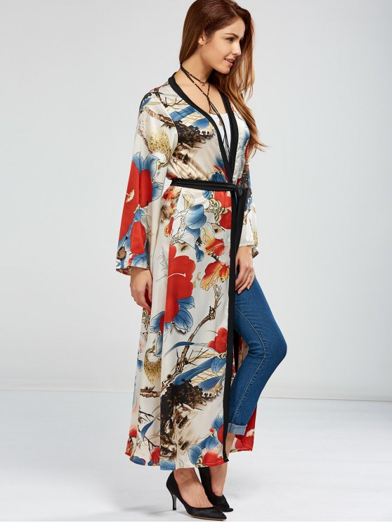 Floral Open Front Maxi Cape - FLORAL ONE SIZE Mobile