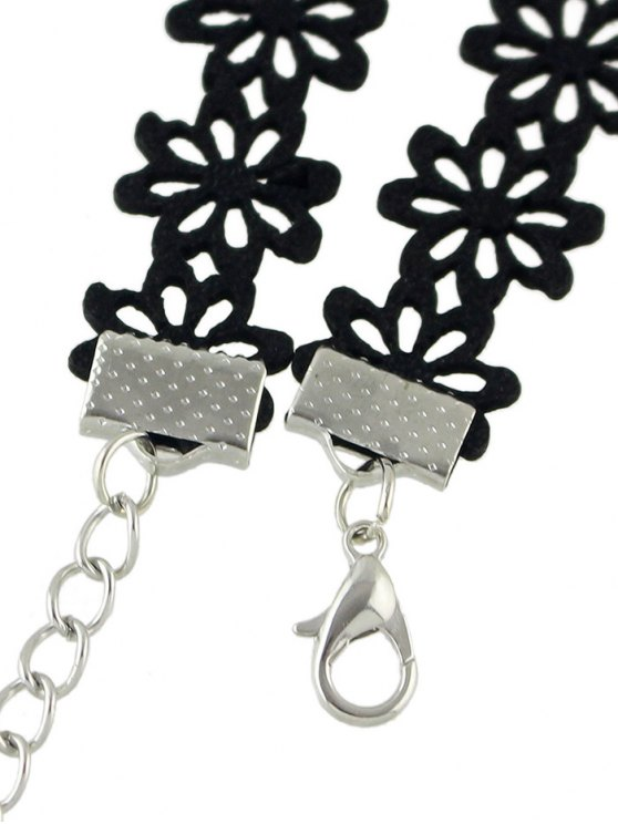 Floral Butterfly Openwork Choker - BLACK  Mobile