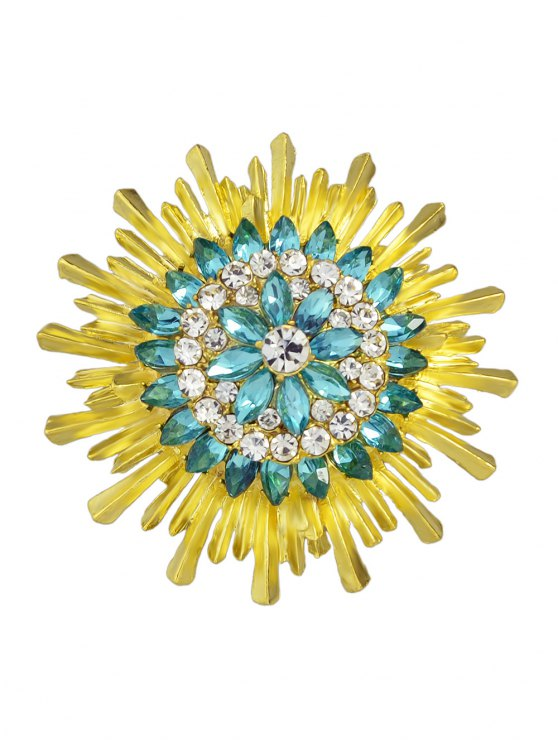 online Enamel Faux Crystal Flower Brooch - YELLOW AND GREEN