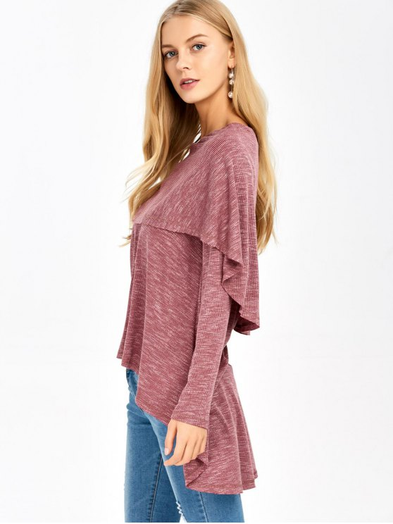 Overlay High Low Hem T-Shirt - RUSSET-RED XL Mobile