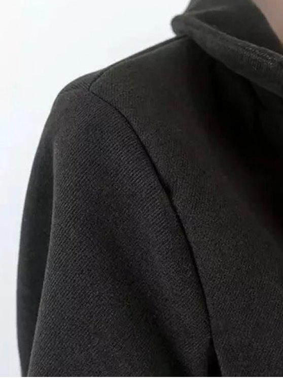 Cape Woolen Coat - BLACK L Mobile