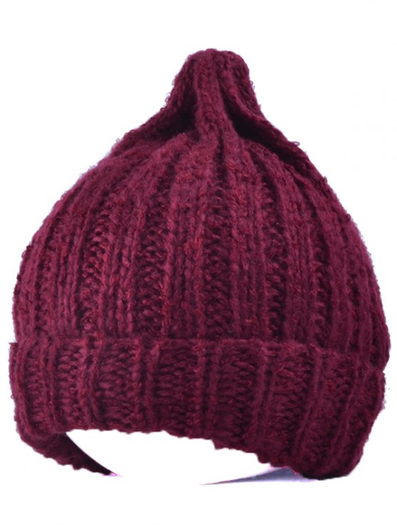 Knitting Patterns Chunky Crochet Tapered Hat - WINE RED  Mobile