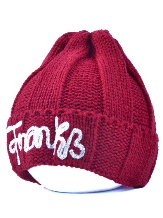 Knitting Patterns Letter Hat - BURGUNDY  Mobile