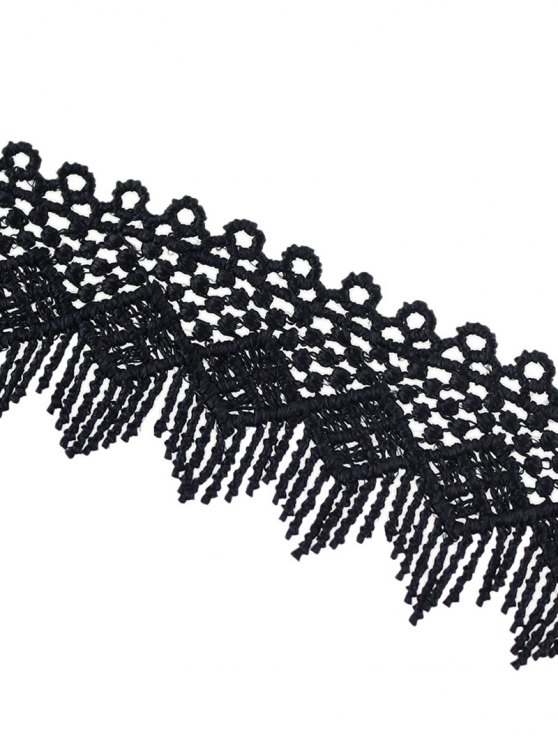 Concise Geometry Tassel Lace Choker - BLACK  Mobile