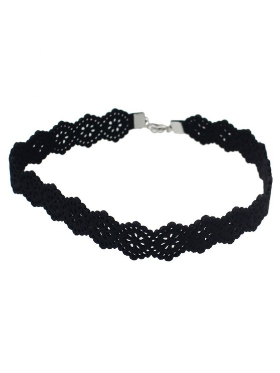 Punk Floral Openwork Lace Choker - BLACK  Mobile
