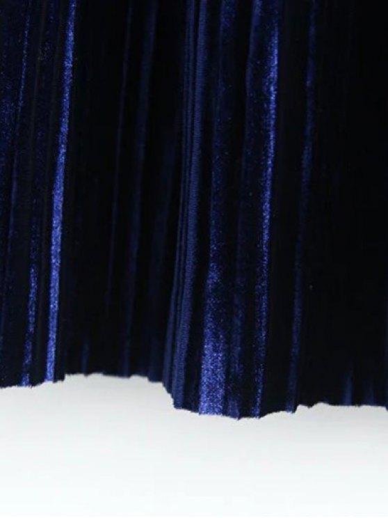 Midi Elastic Waist Pleated Skirt - KHAKI ONE SIZE Mobile