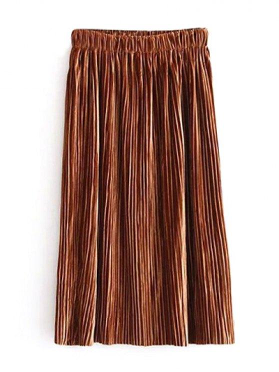 womens Midi Elastic Waist Pleated Skirt - KHAKI ONE SIZE