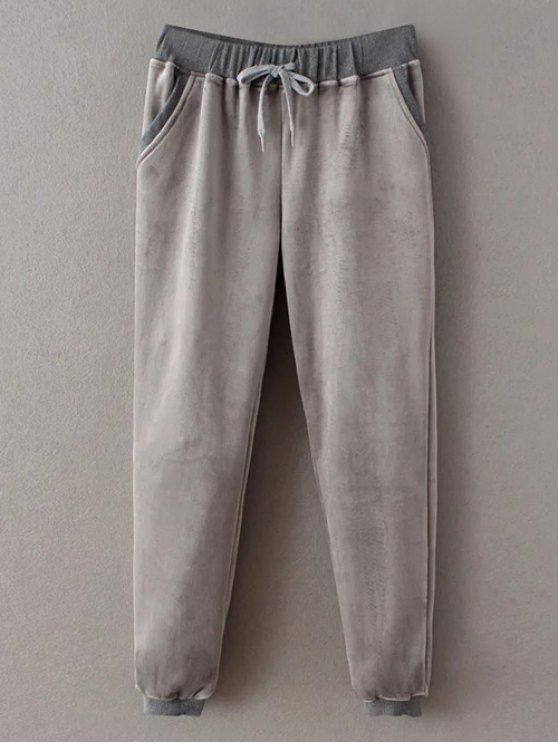 Embroidered Sweatshirt and Drawstring Gym Pants - GRAY M Mobile