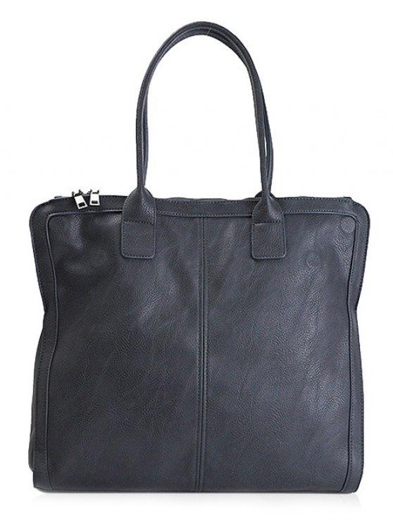 Retro PU Leather Handbag - BLUE  Mobile