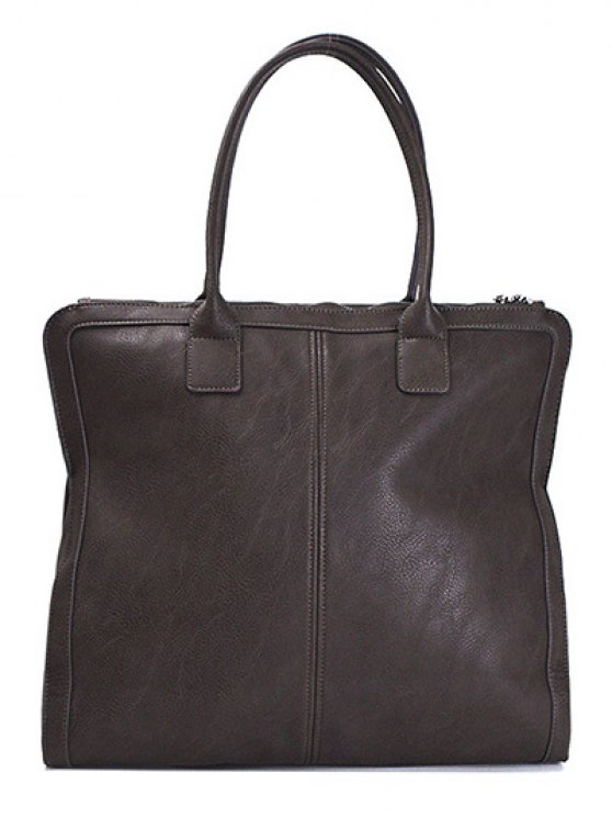 Retro PU Leather Handbag - DEEP BROWN  Mobile