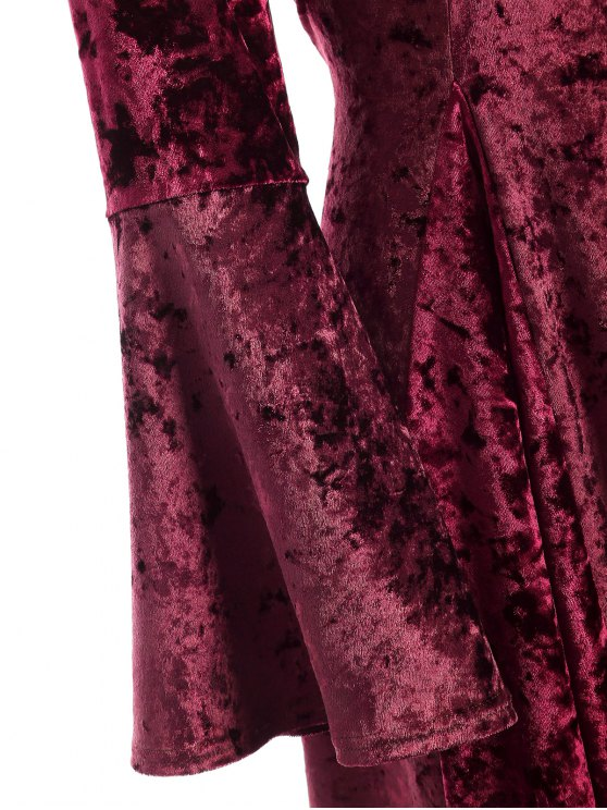 Bell Sleeve Fit and Flare Velvet Dress - BURGUNDY L Mobile