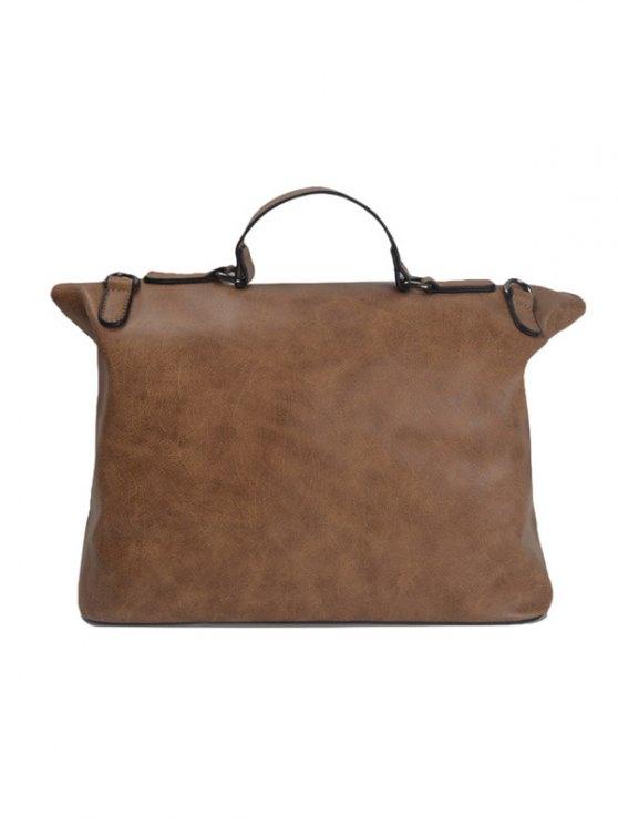 Fold Over PU Leather Handbag - BROWN  Mobile