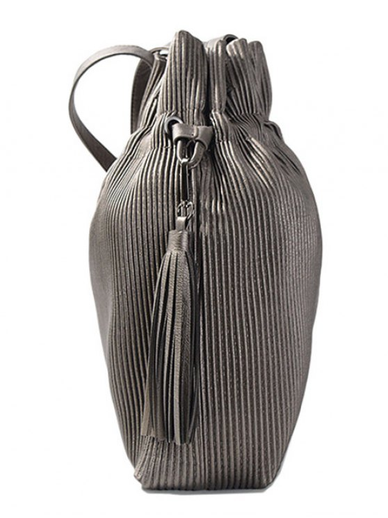 Tassel Ribbed Drawstring Shoulder Bag - SILVER GRAY  Mobile