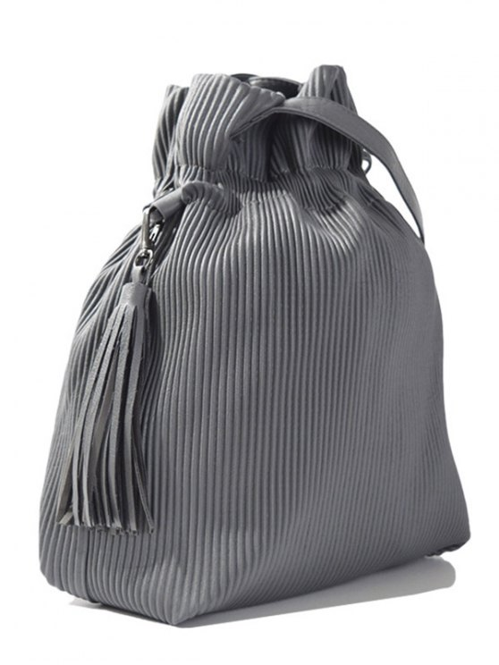 Tassel Ribbed Drawstring Shoulder Bag - GRAY  Mobile