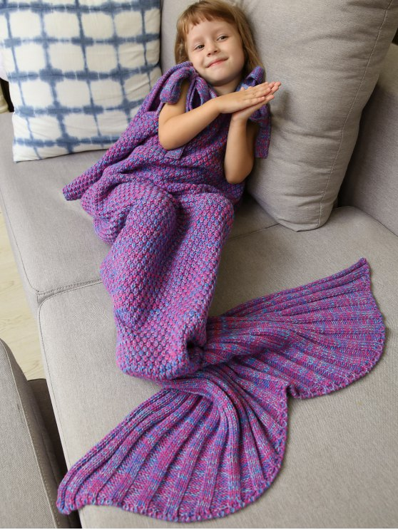 Sleeping Bag Knitted Mermaid Blanket - PURPLE  Mobile