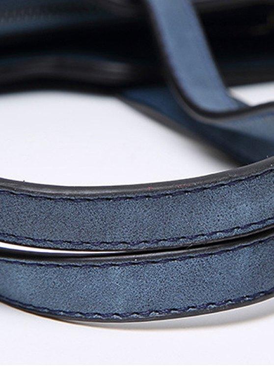 Stitching Metal Embellished Shoulder Bag - DEEP BLUE  Mobile
