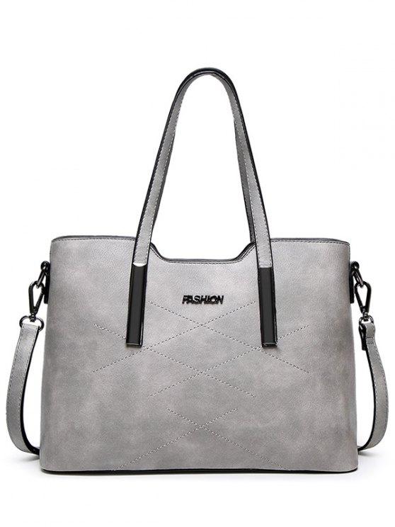 Stitching Metal Embellished Shoulder Bag - LIGHT GRAY  Mobile