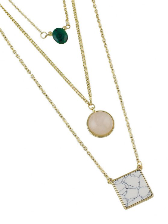 Layered Marble Necklace - GOLDEN  Mobile