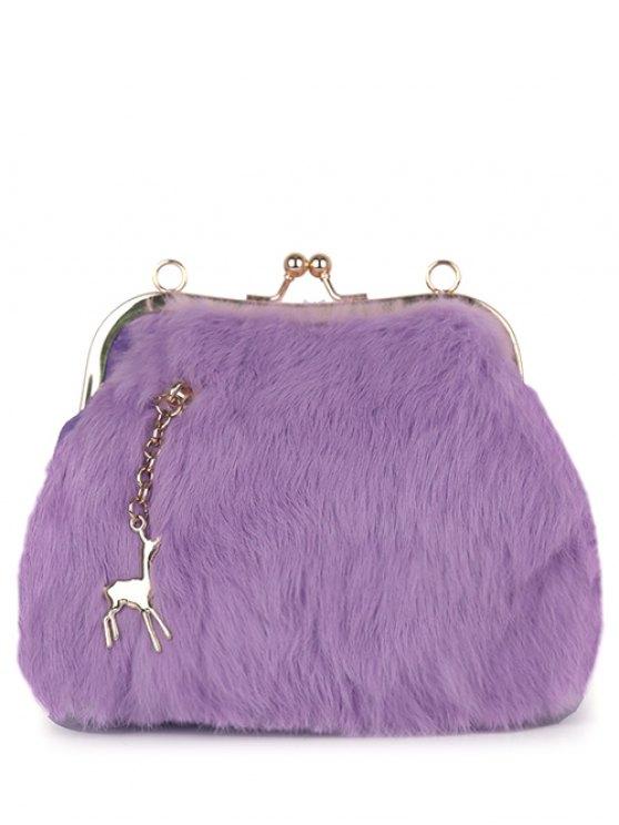 Kiss Lock Furry Evening Bag - PURPLE  Mobile